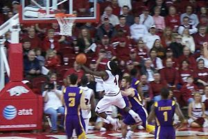 2009–10 Arkansas Razorbacks men's basketball team - Fortson attempts a shot against LSU.