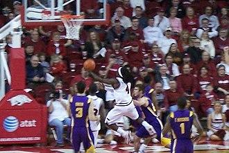 2009–10 Arkansas Razorbacks men's basketball team - Fortson attempts a shot against LSU.