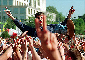 Crowd surfing - Crowdsurfer at Music Midtown festival, Atlanta, 1997