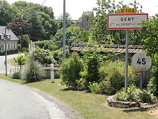 Cuissy-et-Geny (Aisne) city limit sign.JPG