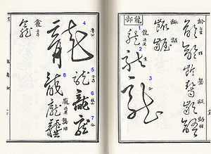 Cursive script (East Asia) - 8 different cursive representations of the character 龍 (dragon), from Compilation of Cursive Characters (《草字彙》), authored by Shi Liang (石梁) of the Qing Dynasty. The artists are: 1 Sun Guoting; 2, 3 Huaisu; 4 Yan Zhenqing; 5 Zhao Mengfu; 6, 7 Zhu Zhishan; 8 anonymous.
