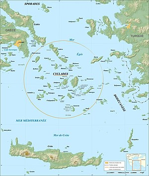 Cycladic culture - Image: Cyclades map fr