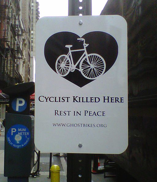 Cyclist killed here sign