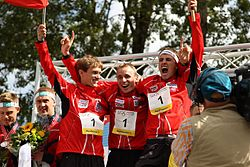 Czech relay team wins WOC Relay, Aug 2012.jpg