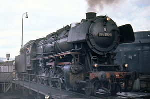 DRG Class 44 - DB 044 014-9 on the turntable at Trier, Easter 1972