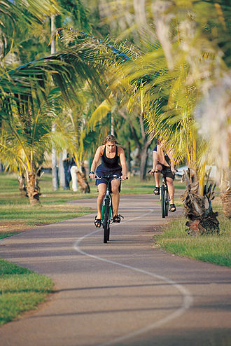 Australian Road Rules - Cyclists on a shared path at Nightcliff in the Northern Territory.