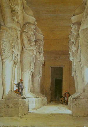 Gerf Hussein - The inside rock-cut temple of Gerf Hussein by David Roberts.