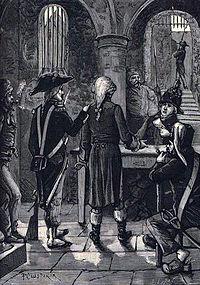 Ο ντε Σαντ ανακρινόμενος από αστυνομικούς, ανιστορική απεικόνιση του 19ου αιώνα.