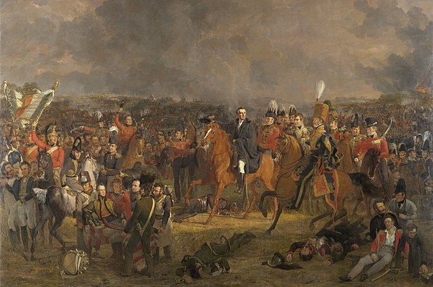 Jan Willem Pieneman's The Battle of Waterloo (1824). Duke of Wellington, centre, flanked on his left by Lord Uxbridge in hussar uniform. On the image's far left, Cpl. Styles of the Royal Dragoons flourishes the eagle of the 105eme Ligne. The wounded Prince of Orange is carried from the field in the foreground. De Slag bij Waterloo Rijksmuseum SK-A-1115.jpeg