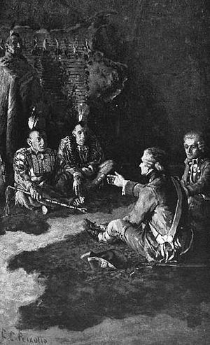 Fort Loudoun (Tennessee) - Ernest Peixotto's depiction of Paul Demeré and John Stuart meeting with the Cherokee at Chota