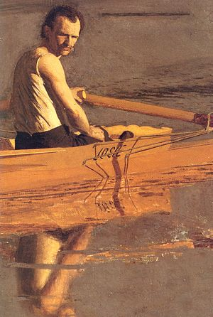 Max Schmitt in a Single Scull - Detail of Schmitt. Note the riggers.