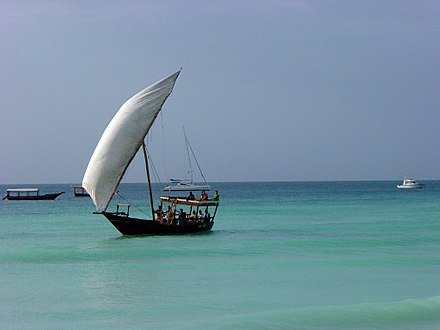 A large dhow with lateen sail rigs Dhow.jpg