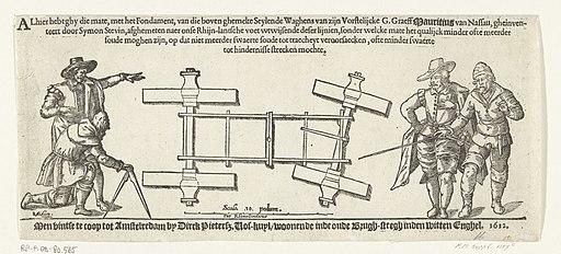 Diagram van de zeilwagen van Simon Stevin, 1602, RP-P-OB-80.565