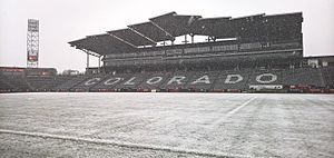 Dick's Sporting Goods Park - Situated near the base of the Rocky Mountains and sitting elevation over 5,200 ft above sea level (1,600 m), Dicks Sporting Goods Park has played host to several famous snow games.