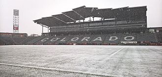 Dick's Sporting Goods Park - Situated near the base of the Rocky Mountains and sitting at an elevation over 5,200 ft above sea level (1,600 m), Dicks Sporting Goods Park has played host to several famous snow games.