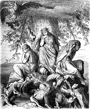 Yggdrasil - The norns Urðr, Verðandi, and Skuld beneath the world tree Yggdrasil (1882) by Ludwig Burger.