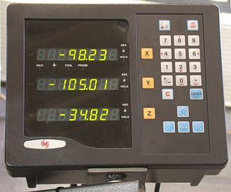 Digital read out - DRO providing a three axis display with pitch circle calculator, diameter/radius conversion, absolute and incremental toggle, and inch metric toggle
