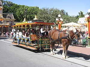 Rail transport in Walt Disney Parks and Resorts - Image: Disneyland Horse Drawn Streetcar