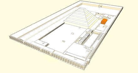 Aerial view of king Djoser's funerary complex. Djoser-pavillon-sud.jpg