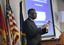 Dr. Lonnie George Johnson speaks in a lecture on February 2, 2016. 160202-N-PO203-057 (24409935599).jpg