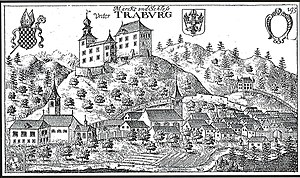 Dravograd - Dravograd's castle on Valvasor's copperplate engraving