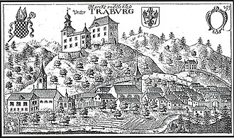 Dravograd - Dravograd's castle on Valvasor's copperplate engraving
