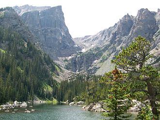 Dream Lake - Looking West over Dream Lake