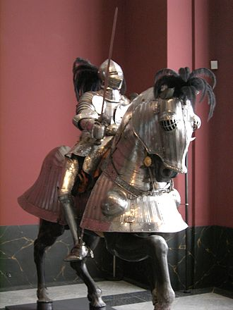 Barding - A sixteenth-century knight with a horse in full barding