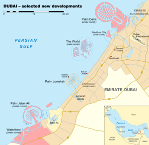 Deira Island - New developments in Dubai with Palm Deira in the upper right corner