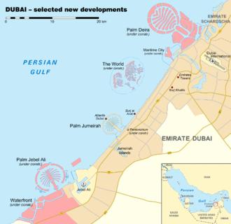 Deira Island - New developments in Dubai with Palm Deira in the upper right corner