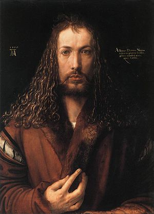 Portrait Diptych of Dürer's Parents - Albrecht Dürer, Self-Portrait at Twenty-Eight, 1500. Alte Pinakothek, Munich