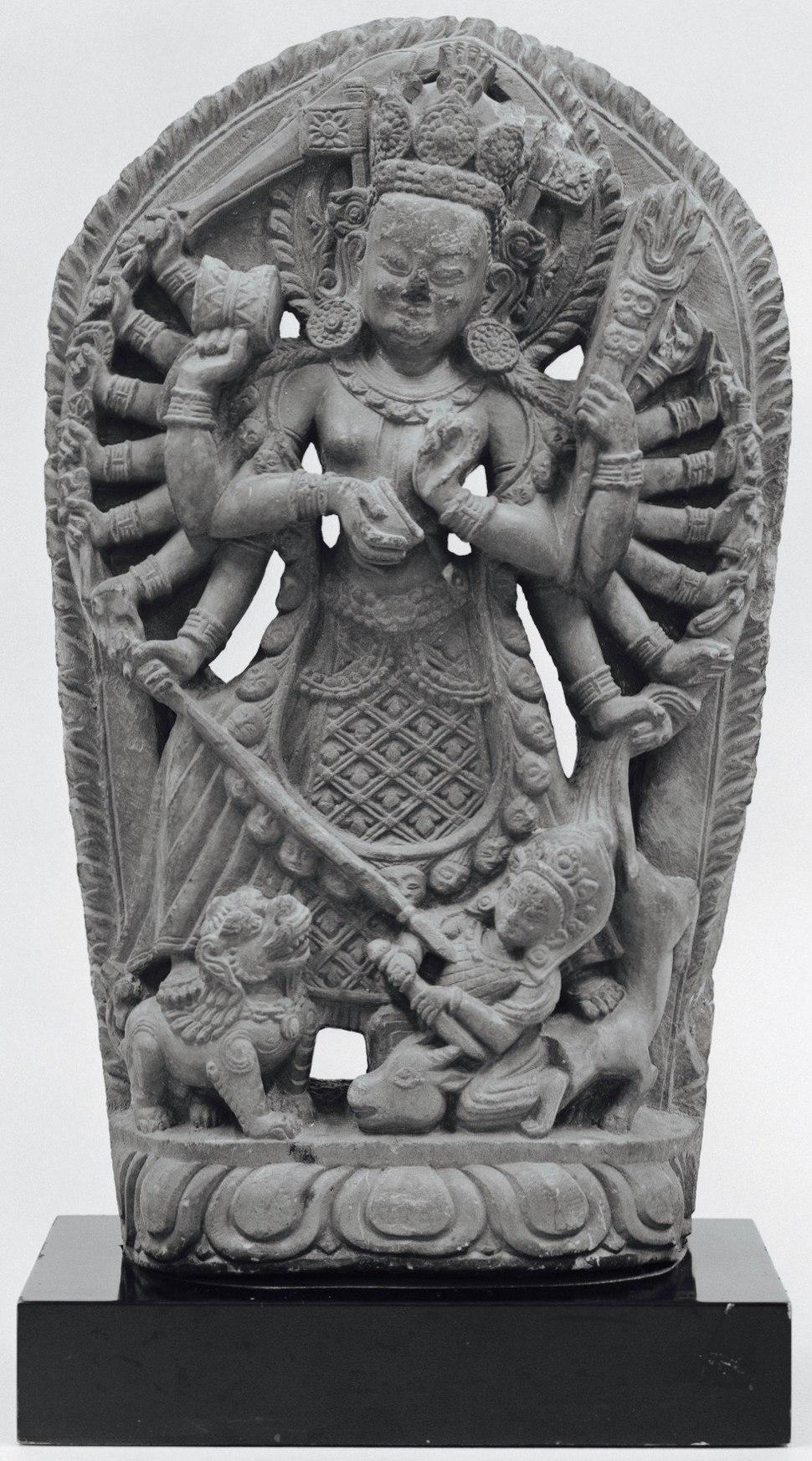 Durga slaying the Buffalo demon Mahisuramardini LACMA M.70.42.8