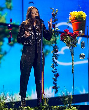 """Francesca Michielin - Michielin performing """"No Degree of Separation"""" during rehearsals for the Eurovision Song Contest 2016."""