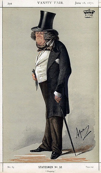 """William Ward, 1st Earl of Dudley - """"Property"""" The Earl of Dudley as caricatured by Ape (Carlo Pellegrini) in Vanity Fair, June 1870."""