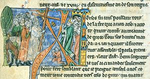 Evremar - Ehremar taking the True Cross to Antioch from William of Tyre's Histoire d'Outremer, in the care of the British Museum