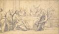Ecole française 18ème siècle (French sch. 18th C.) - Black pencil, grey wash - Le repas chez Simon - 22.5x38.2cm.jpg