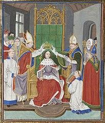 Coronación de Eduardo III. Miniatura de Loyset Liédet