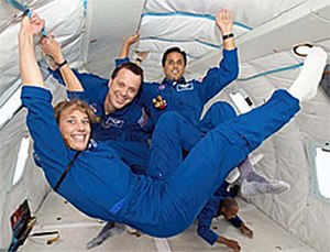Joseph M. Acaba - Mission Specialist Educators Lindenberger, Arnold, and Acaba during a parabolic flight.