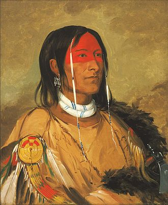 Iron Confederacy - Portrait of Eeh-tow-wées-ka-zeet (He Who Has Eyes Behind Him) a Plains Cree warrior painted by George Catlin.