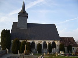 Saint-Aubin Church with Irish Yews