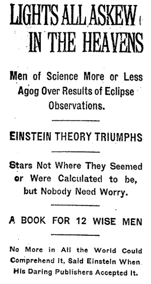 Predictive power - The New York Times of November 10, 1919, reported on Einstein's confirmed prediction of gravitation on space, called the gravitational lens effect.