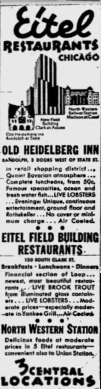 Eitel Brothers - Advertisement for the three Eitel Restaurants, 1935.