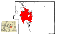 El Paso County Colorado Incorporated and Unincorporated areas Colorado Springs Highlighted.svg