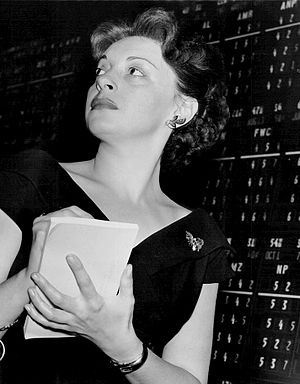 Elaine Barrie - Barrie at work in a Wall street brokerage in 1951