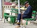 Elderly Man on Bench - Quba - Azerbaijan (18004428715).jpg