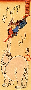 Elephant and a flying tengu