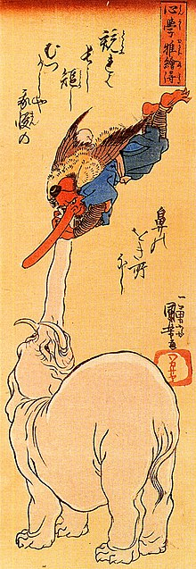 Elephant and a flying tengu.jpg