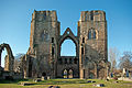 Elgin Cathedral west front from inside cathedral.jpg