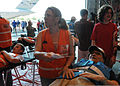 Emergency services personnel triage a mock victim during exercise Golden Eagle III at Stewart Air National Guard Base, Newburgh, N.Y., June 1, 2013 130601-Z-VX101-028.jpg