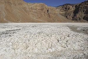 Natron - Natron deposits in the Era Kohor crater in the Tibesti Mountains, Chad